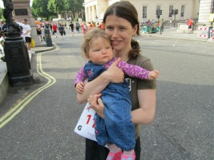 With my daughter before the British 10k in 2011, running to raise fund for the M.A.