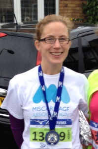 Claire Guile running the Reading Half Marathon to raise funds for the Miscarriage Association