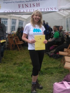 Lesley Lewis fundraising for the Miscarriage Association at the Rotary Across Wales Walk 2013.
