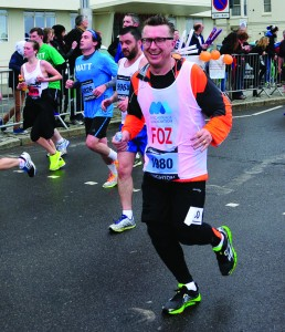 Andrew running the Brighton Marathon for the Miscarriage Association.