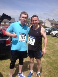 Spencer running the Freckleton Half Marathon for the M.A.