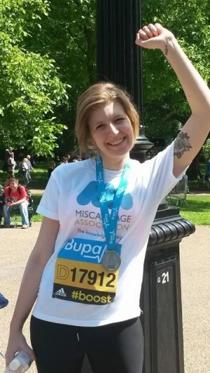Sam after running the Bupa 10,000 for the Miscarriage Association