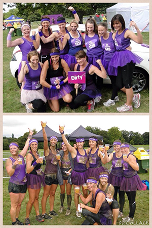 Lucy and others, before and after the Mudderella