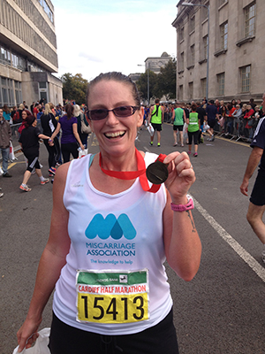 Ruth after the Cardiff Half Marathon
