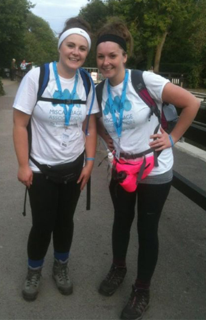 Stacie and Amie taking part in the Thames Path Challenge