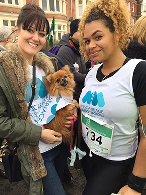 Kate and her sister taking part in the Liverpool Half Marathon for the Miscarriage Association