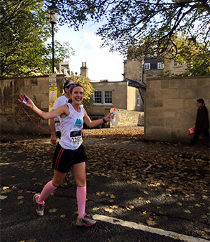 Lucy running the Bristol to Bath marathon